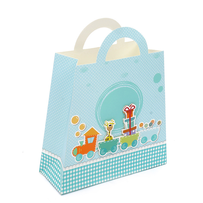 Hot Selling Handmade 3D Cartoon Train Ivory Paper Shopping Gfit Bags For Kids