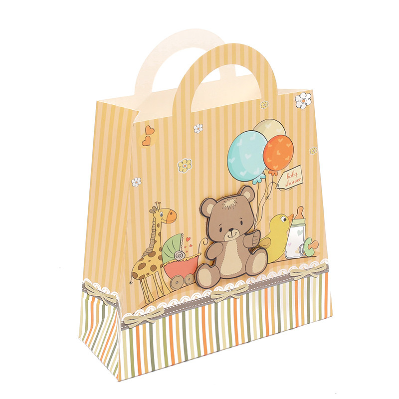 Hot Selling Handmade 3D Cartoon Bear Ivory Paper Shopping Gfit Bags For Kids