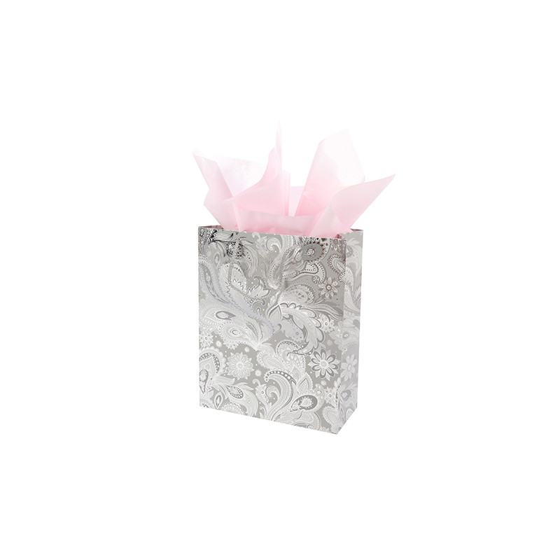 Hot Selling High Quality Custom Silver Jewelry Gift Shopping Paper Bags With Handle