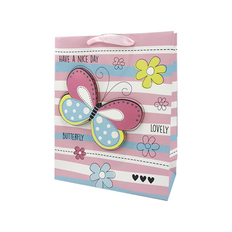 2020 Hot Selling 3D Cartoon Butterfly Flower Ivory Paper Gift bags For Kids With Ribbon Handle