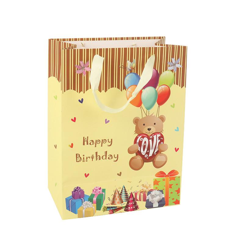 High Quality Custom Eco-Friendly 3D Cartoon Bear Birthday Gift Paper Bag With Handle
