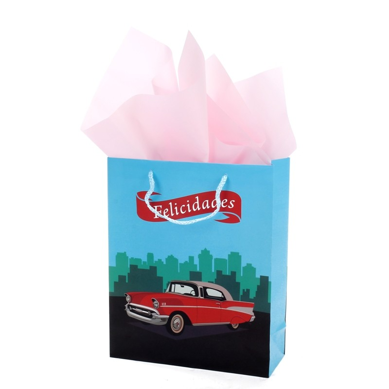 Wholesale High Quality Red Car Cartoon Ivory Paper Gift Bag Wiht Handle For Kids