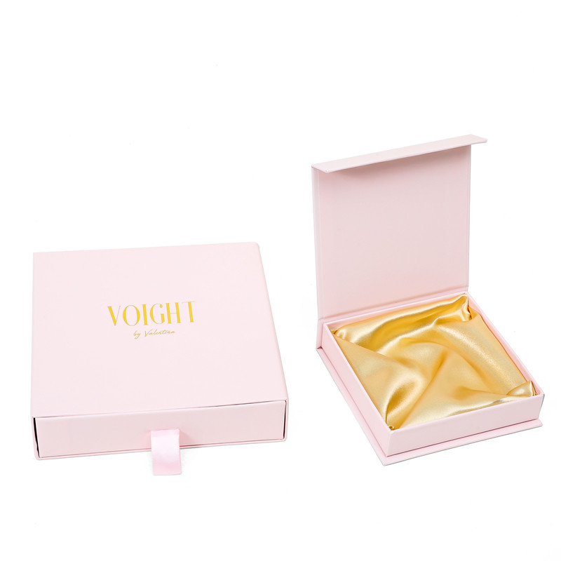 Fancy pink jewelry yellow satin drawer gift paper box