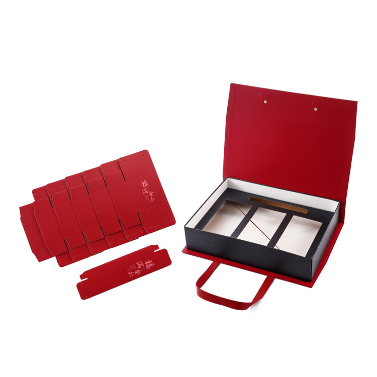 Elegant 1600g grey cardboard hot-stamping PU handle gift paper box