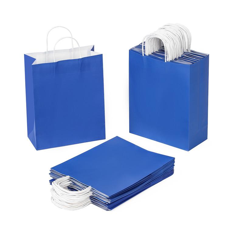 BSCI audit wholesale price 120g kraft white blue color paper bag