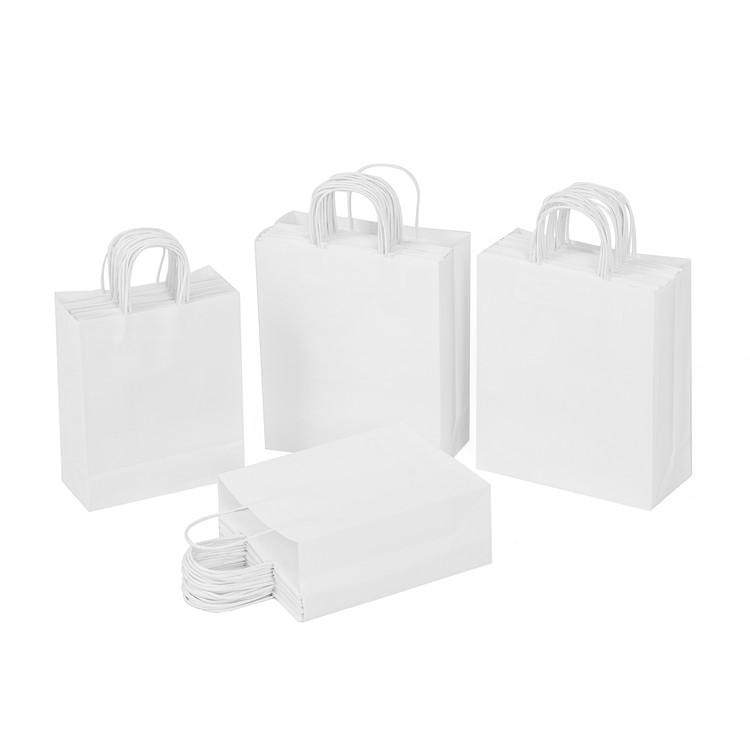 Cheap Eco Friendly Colorful Printed Cheap White Kraft Paper Gift Bags