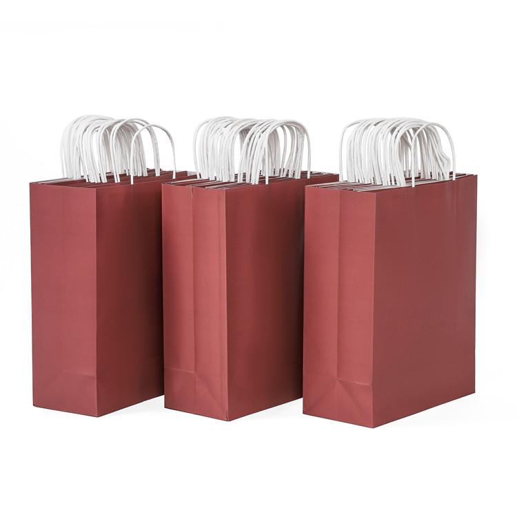 2020 Best seller BSCI reusable sturdy kraft wine red color paper gift bag