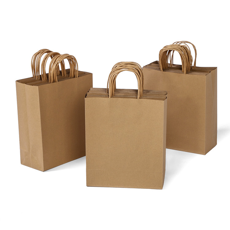Manufacture eco-friendly kraft brown gift paper bag