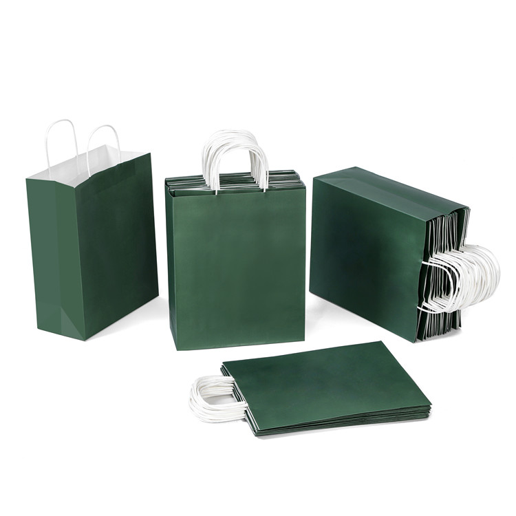 Ready stock mixed packing kraft dark green paper bagwith twisted paper