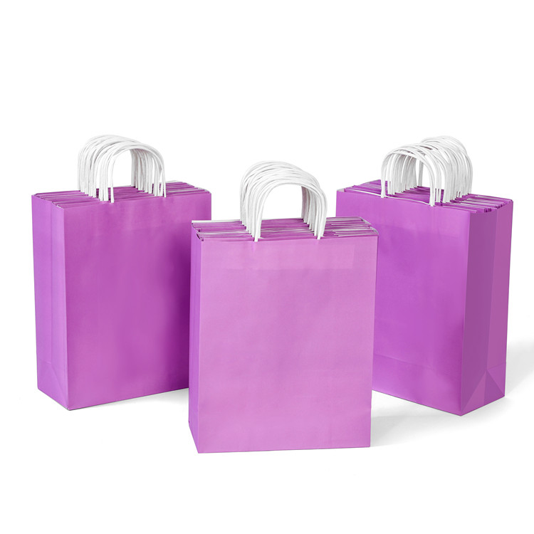Recycled white kraft paper carrier bag with handles