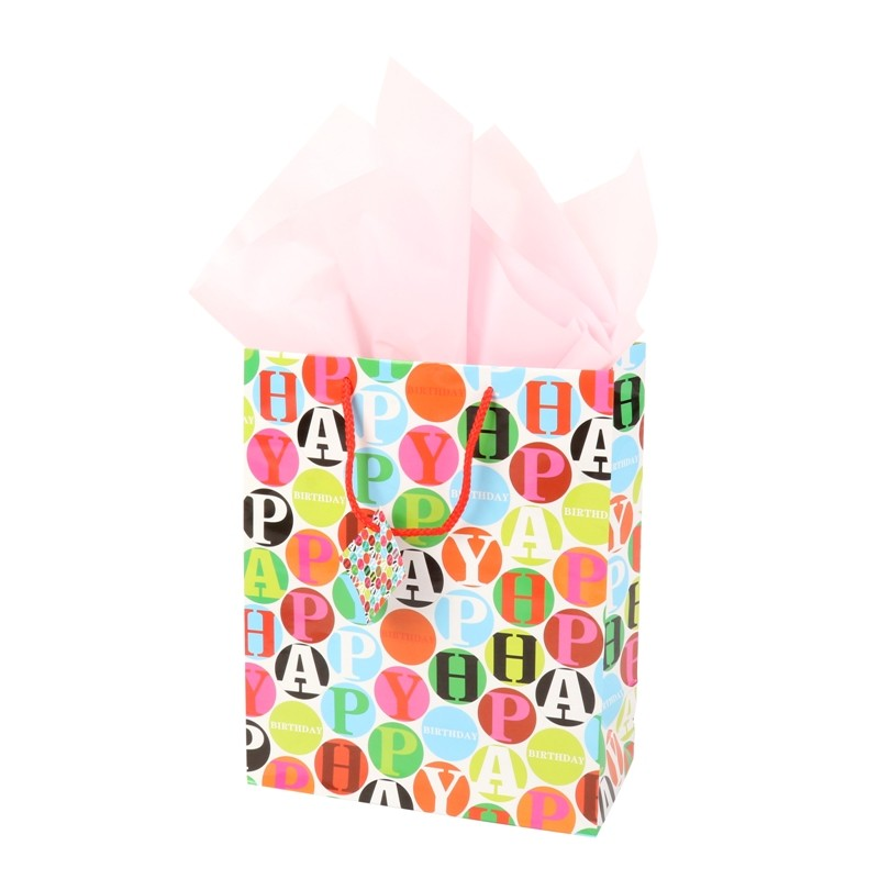 hot-sale colorful 157g coated paper glossy lamination gift paper bag 18*23*10cm