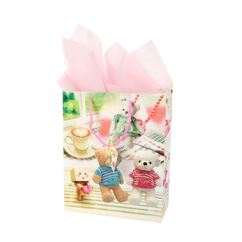 Adorable BSCI audit kids' 157g art paper shopping gift bag with tag