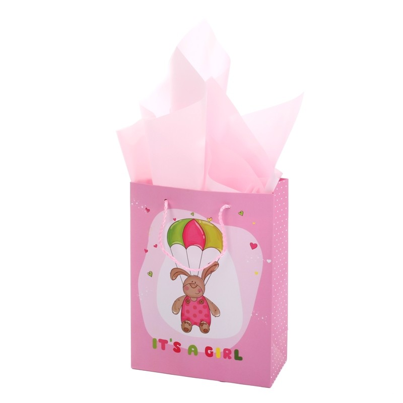Direct factory BSCI audit 157g  caoted pink color gift paper bag