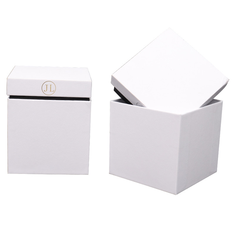 Fancy cube shape white color hot-stamping gift jewery box