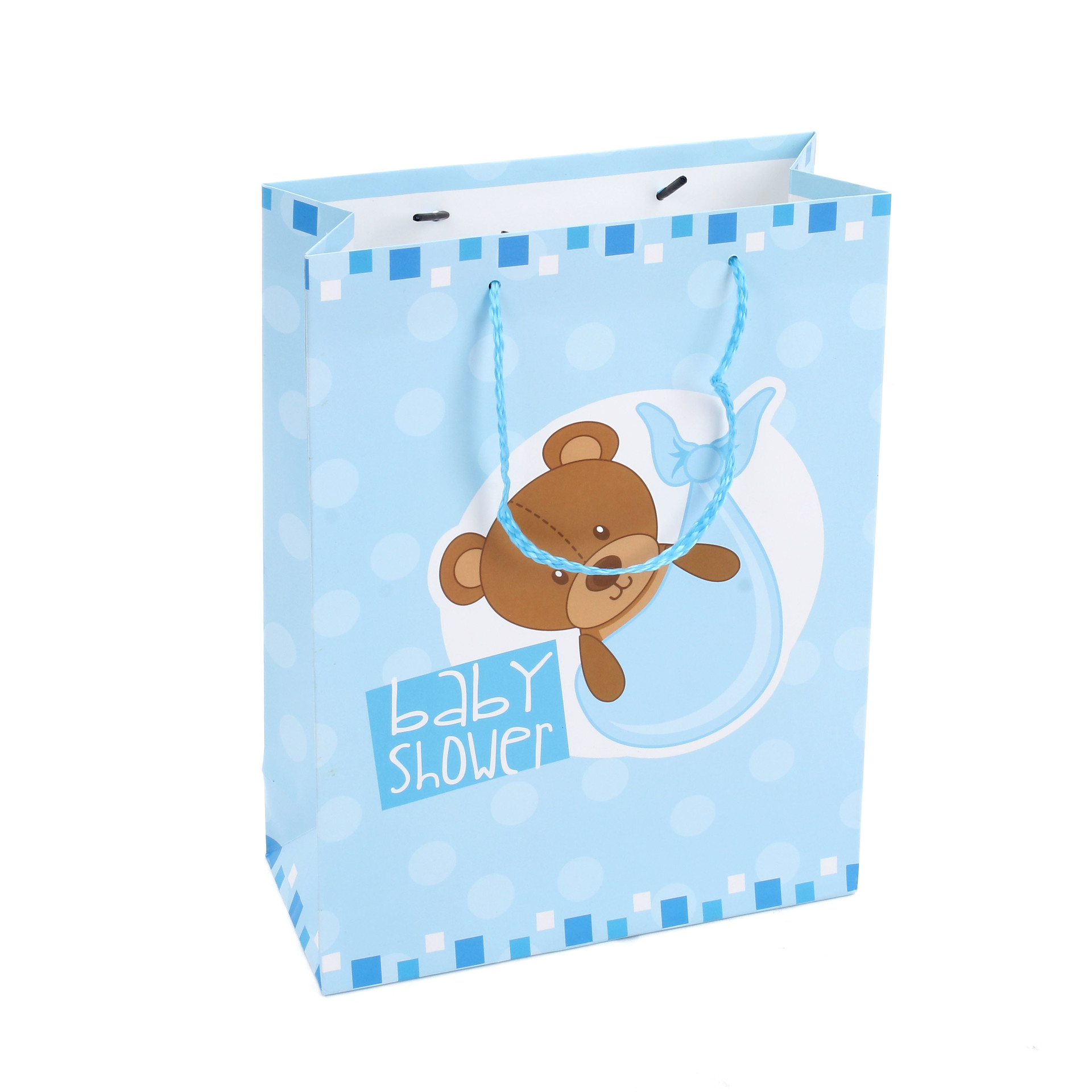 2021 Hot Selling Custom Cartoon Bear Ivory Paper Gift Bag With Handle For Kids&Children