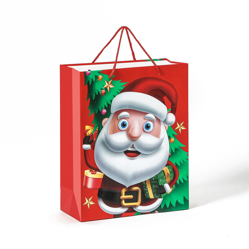 Hot Selling High Quality 3D Cartoon Custom Christmas Gift Paper Bag With Handle