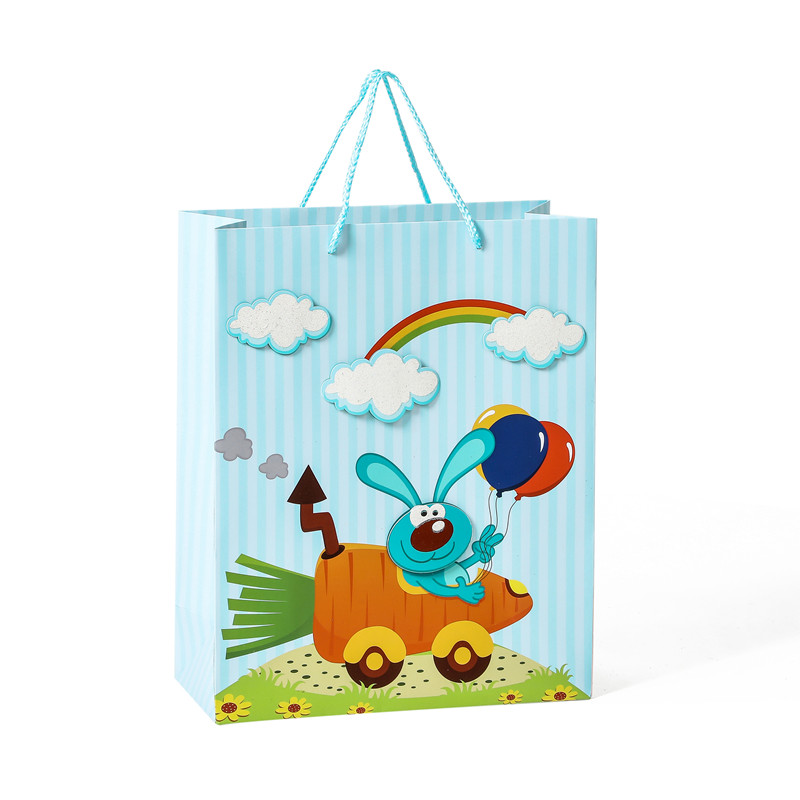 Hot Selling High Quality 3D Cute Cartoon Animals Gift Paper Bag For Kids With Handle