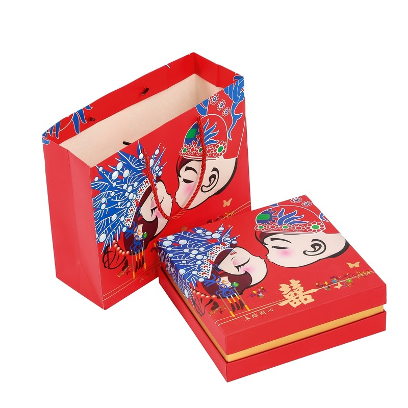 Hot Selling High Quality Chinese Red Style Wedding Hot Stamping Gift Paper Bag&Box