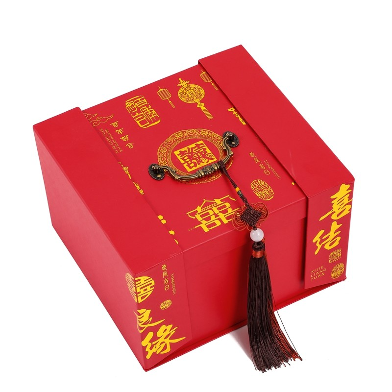 Manufacturer Wholesale Luxury Custom Chinese Red Style Wedding Gift Paper Box With Handle