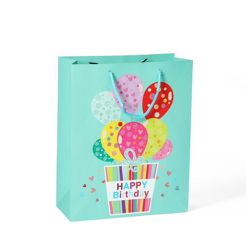 Hot Selling Colorful Cartoon Balloon Birthday Gift Paper Bag With Handle