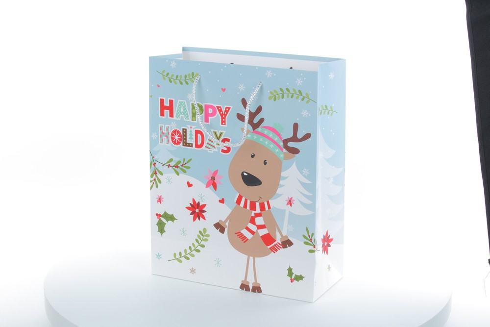 Wholesale Christmas Cute Cartoon Deer Glittering Finishing Gift Paper Bag With Handle