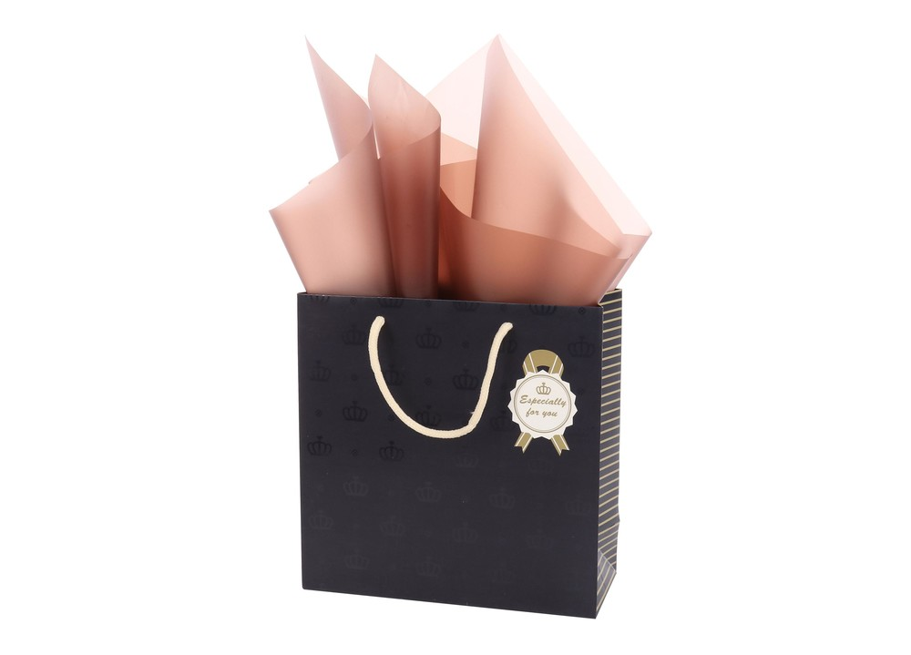 Wholesale Custom Daily Fancy Crown Design UV Finishing Gift Shopping Paper Bag With Handle
