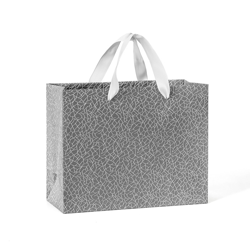 Wholesale Handmade Foldable Luxury Grey Gift Paper Bag With Grosgrain Handle