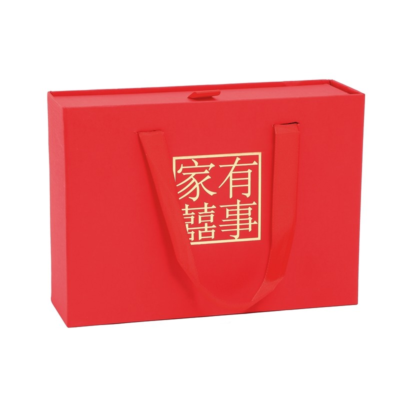 Hot Selling Custom Luxury Hot Stamping Chinese Red Style Wedding Gift Paper Box With Handle