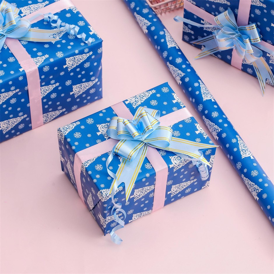 Wholesale Hot Selling Top Quality Blue Snow Christmas Design Wrapping Paper
