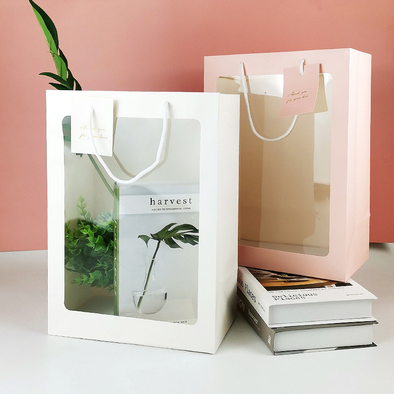 Hot Selling 210g High Quality PVC Daily Shopping Flowers Gift Bags With Handle