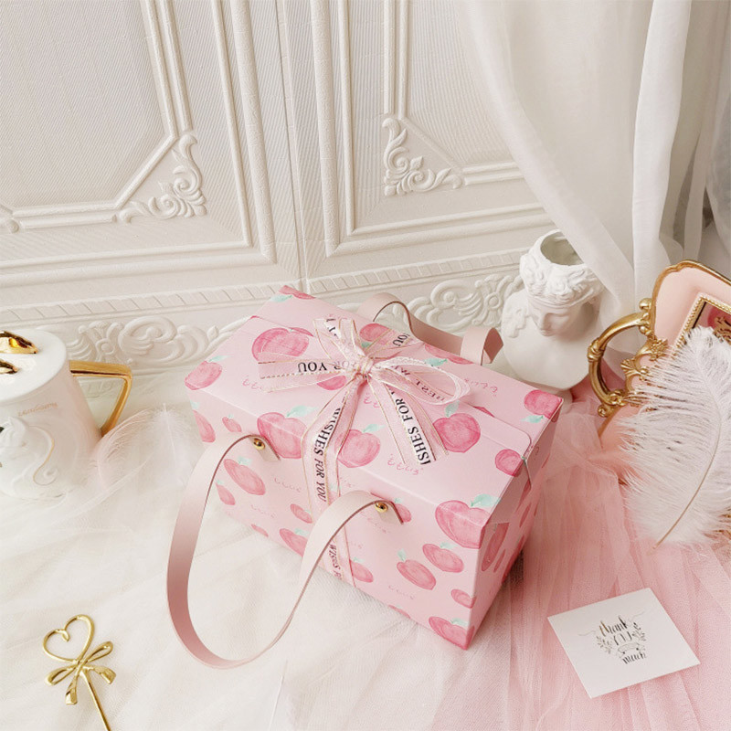 Pink CakePackingBoxPortableGiftBoxWith Handle Chocolate Gift Packaging Box