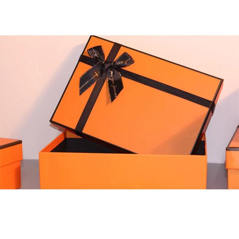 Exquisite orange gift box custom gift box high-grade bow gift box custom gift box