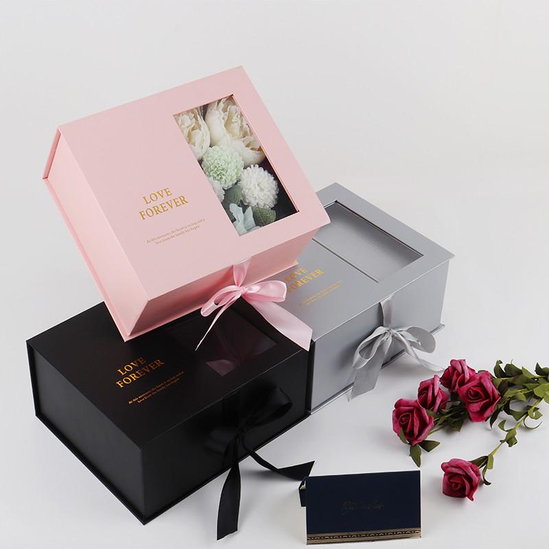 High quality luxury cardboard gift box with ribbon gift box