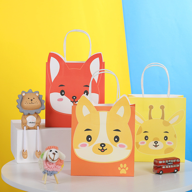 Hot sale simple design cute cartoon shape paper shopping gift bag