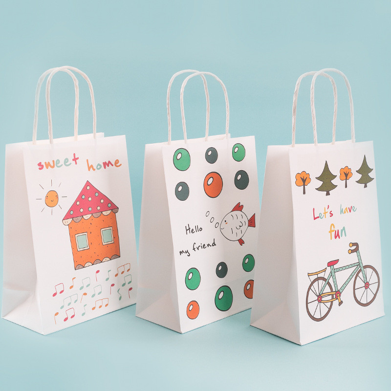 Customized cartoon pattern printing food packaging craft paper tote bag
