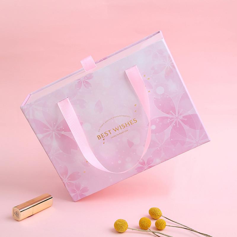 Custom Pink cherry blossom gift box drawer type packing box