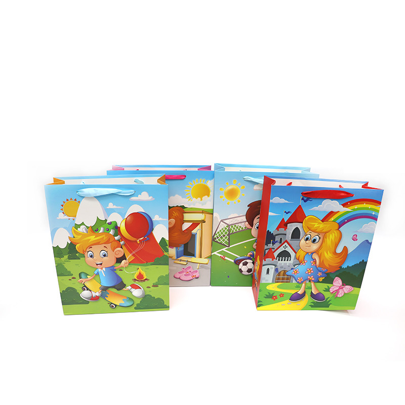 Wholesale high quality cartoon design gift paper bags for kids