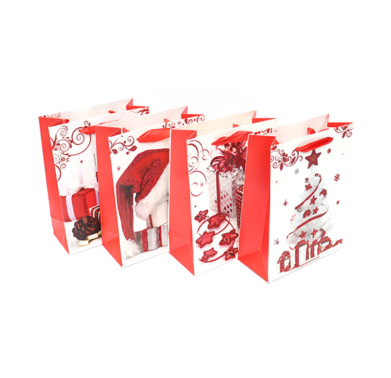 Hot Selling stocking glittering Christmas paper gift Bags with red ribbon handle and eye-let