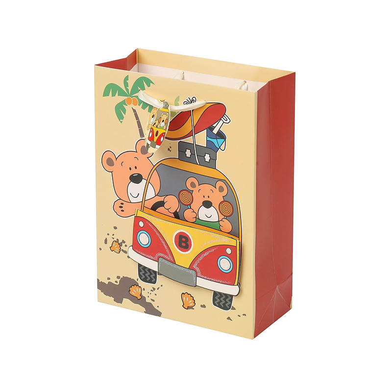 Personalized glittering Cartoon daily stocked gift bag with tag