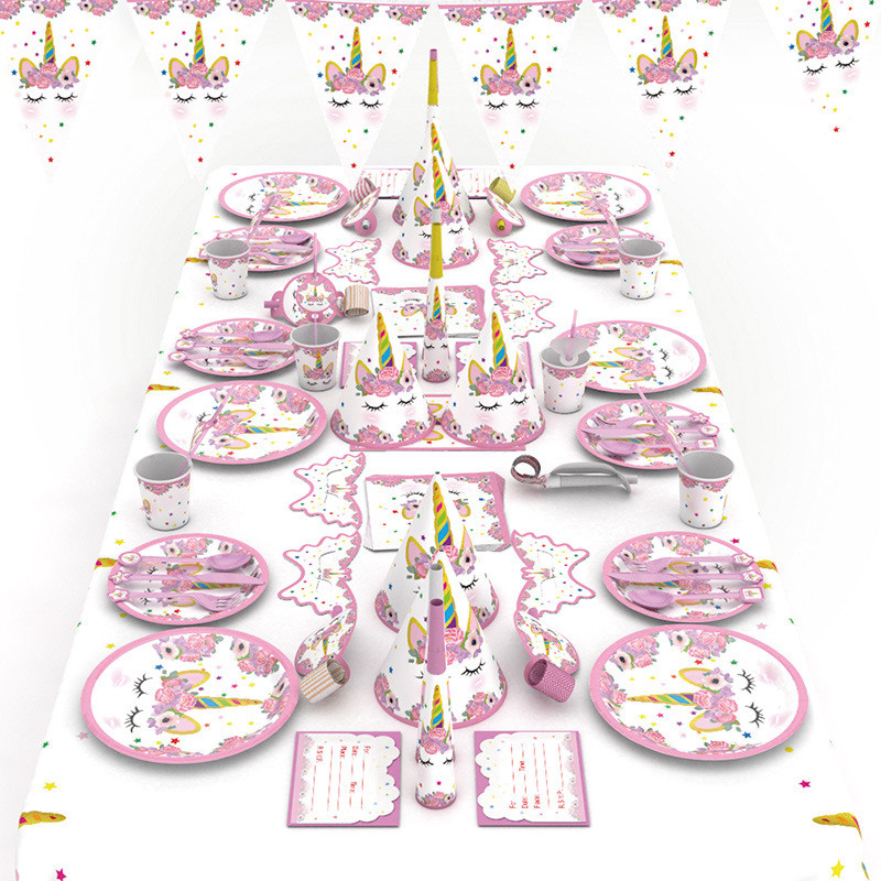 Party decoration wholesale bulk pink unicorn tablewear whole set