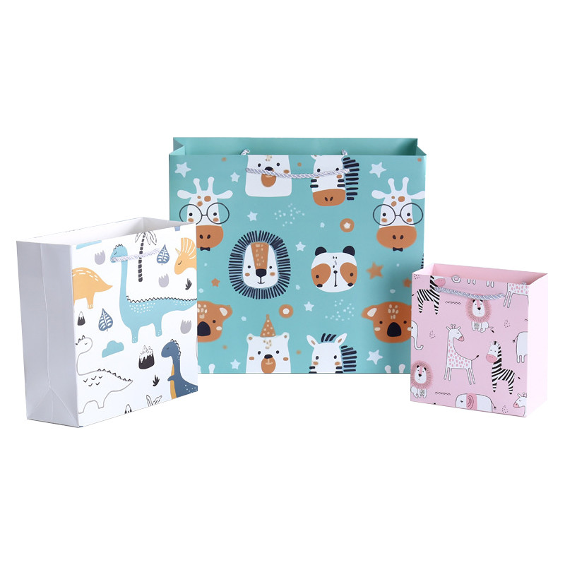 Eco-friendly Zoo Cartoon Animal Ivory Paper Bag for Kids with High Quality PP Handle