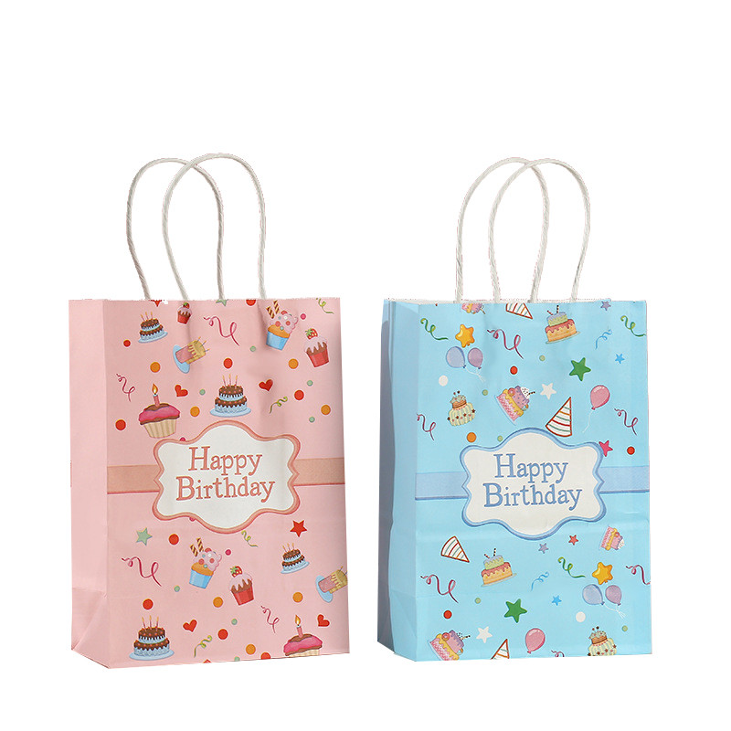 Birthday Party Carton Element 120gsm Recycla White Kraft Paper Bag with Twisted Paper Handle