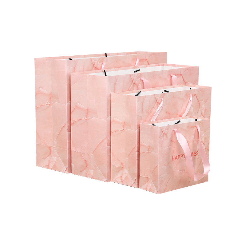 Hot Selling Pink Marbling Pattern Daily Shopping Gift Paper Bag With Ribbon Handle