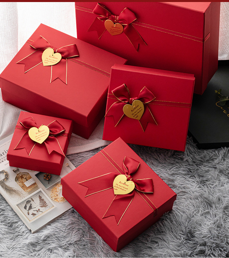 Wholesale Fashion Design Printing Red Color Gift Paper Box Eco Friendly Luxury Square Paper Box With Lid