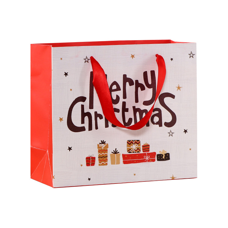 Direct factory merry chrismas gift paper bag with ribbon handle