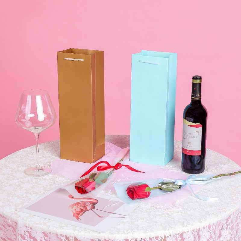 Hot sale colorful wine paper bag convenient to carry for gift