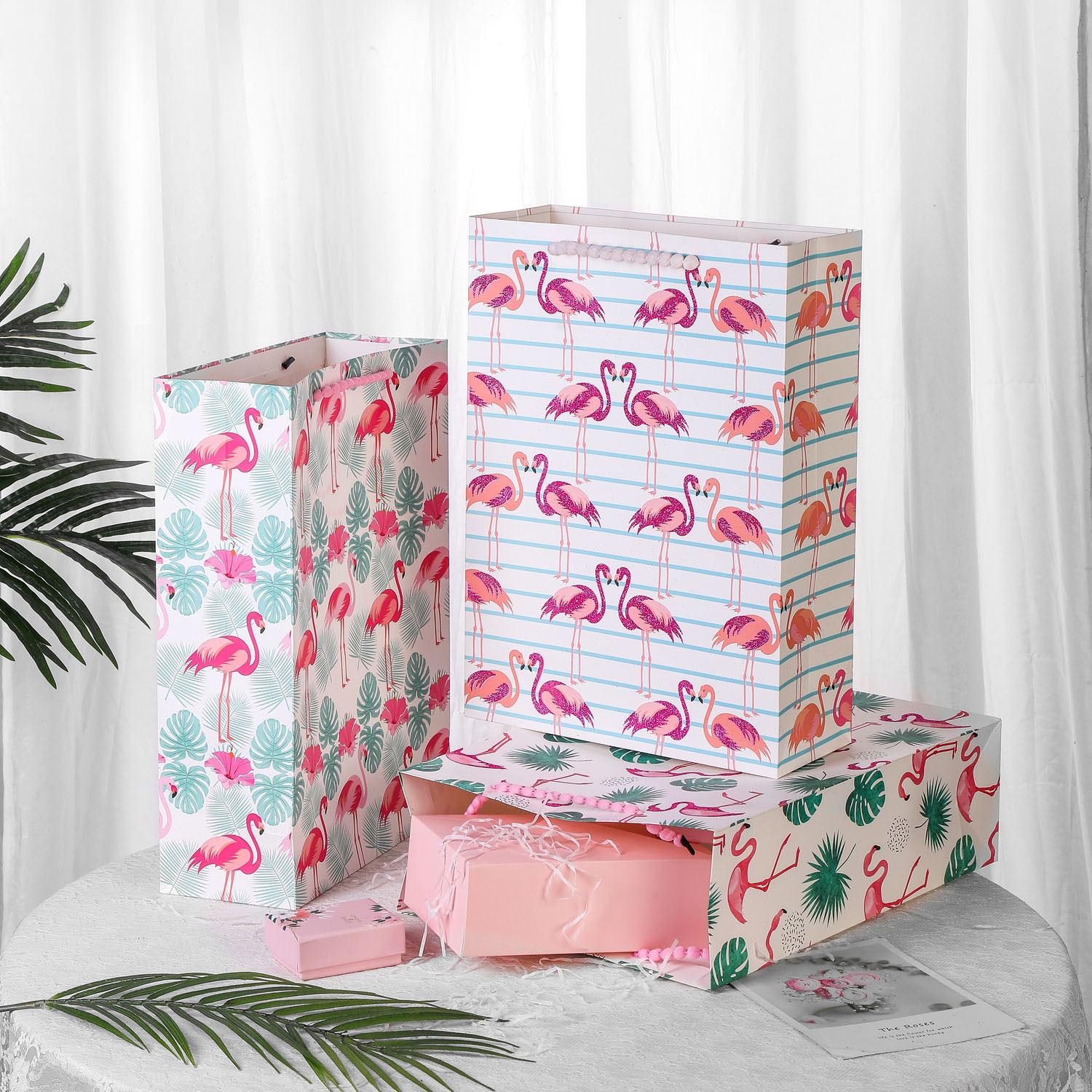 Daily Shopping Paper Bag with Pink Glittering Flamingo Design