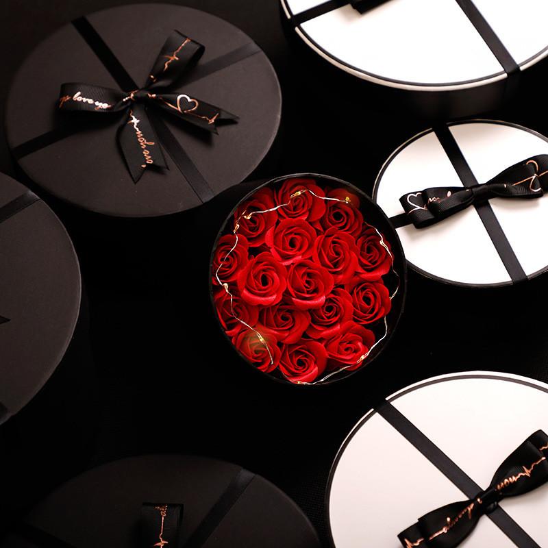 Custom Logo Round Hat Flower Box Rose Tube Gift Paper Cardboard Box