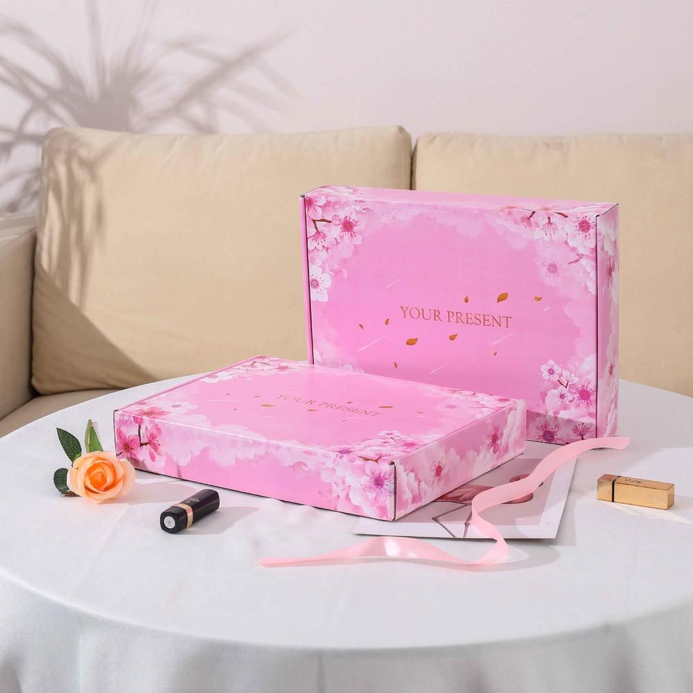 Scatola di spedizione ondulata del blossom del fiore di pesca rosa di alta qualità con la parola di stampaggio a caldo