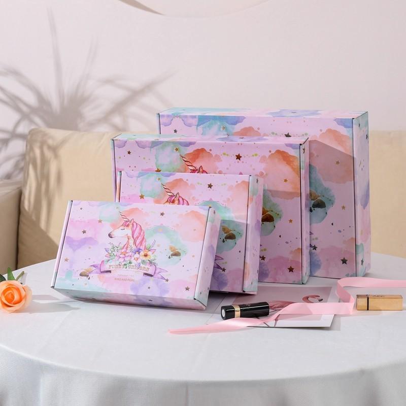 Scatola di carta ondulata di alta qualità con stampa di unicorno rosa colorato